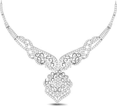 Vijisan 10.22 Ct. Pretty Gorgeous Cubic Zirconia 18K White Gold Plated Silver Necklace at flipkart