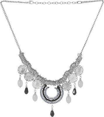 Voylla Artificial Classic Plain Crystal Silver Plated Alloy Necklace at flipkart