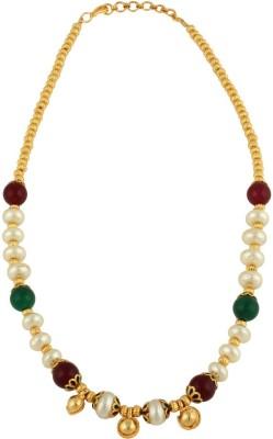 Sri Shringarr Fashion MALA114 Pearl Yellow Gold Plated Copper Necklace at flipkart