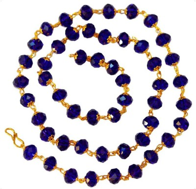 Men Style Handcrafted Swarovski Blue Coloured 8 mm Golden Cap Crystal bead (51 Bead) Swarovski Crystal Crystal Necklace at flipkart