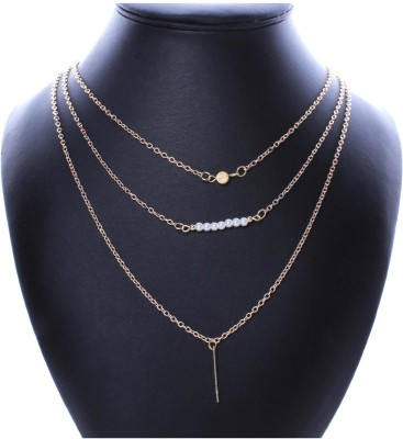 FashBlush Yellow Gold Plated Alloy Necklace at flipkart