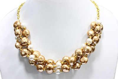 Eighth Fold Pearl Brass Plated Alloy Necklace at flipkart