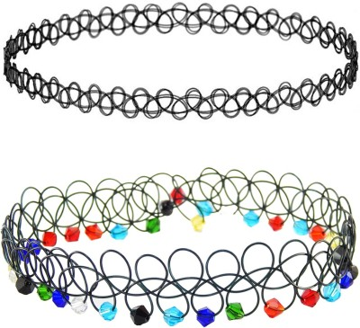 FreshVibes Choker Necklace Combo – Simple Black and White Choker Set of 2 for Friends - Antique Style Choker Combo Plastic Necklace Set  available at flipkart for Rs.135