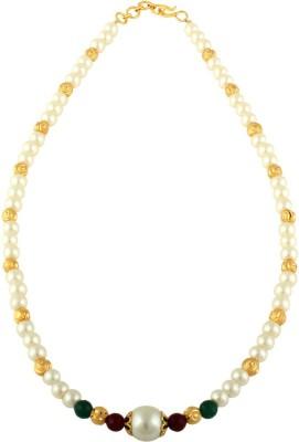 Sri Shringarr Fashion MALA115 Pearl Yellow Gold Plated Copper Necklace at flipkart