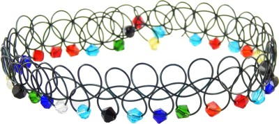 FreshVibes Black Choker Necklace Colour - Modern and Stylish Colourful Stones Antique Style Choker for Girls Plastic Choker  available at flipkart for Rs.139