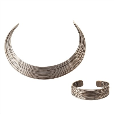 Zephyrr Fashion Silver tone Metallic Choker Necklace and Bracelet Set Combo Alloy Necklace at flipkart