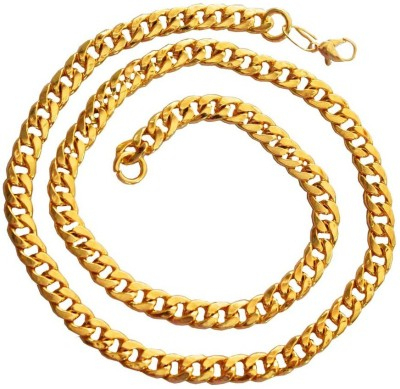 Rich & Famous Curb Chain Fashion Yellow Gold Plated Alloy Chain at flipkart