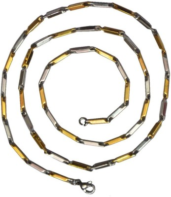 Men Style 18K Yellow Gold Plated Stainless Steel Chain at flipkart
