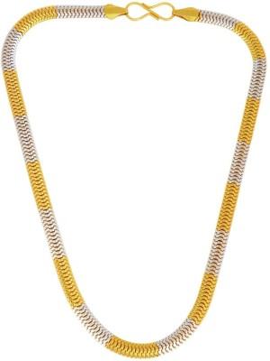 Memoir Dual Tone Snake Design Necklace 24K Yellow Gold Plated Brass Chain at flipkart