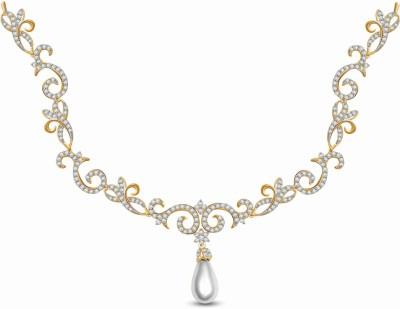 Vijisan 5.30 Ct. Romantic Fancy Cubic Zirconia 18K Yellow Gold Plated Silver Necklace at flipkart
