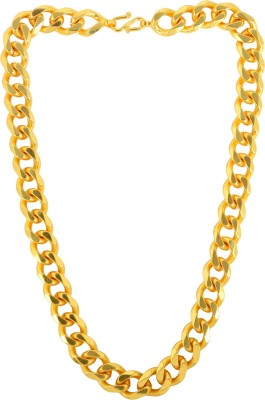 Memoir Memoir Gold plated Super thick and Broad 14mm/20 Inch/123Gms chain necklace jewellery for Men 24K Yellow Gold Plated Brass Chain