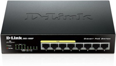 D Link DGS 1008P Eight 10/100/1000 Mbps Gigabit Ports Network Switch Black D Link Switches