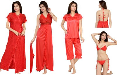 Bombshell Women's Nighty with Robe, Top and Capri(Red)