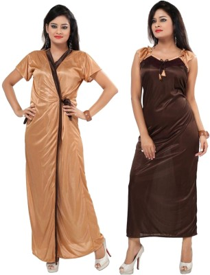 Fabme Women Nighty with Robe(Brown)