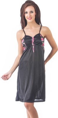 Fasense Women Nighty(Black, Pink) at flipkart
