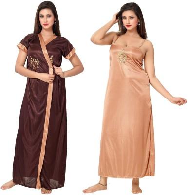 Fashigo Women Nighty with Robe(Brown)