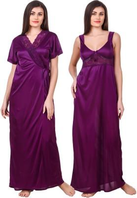 Fasense Women Nighty with Robe(Purple)