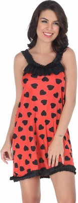 Belle Nuits Women's Nighty with Robe, Top and Capri(Red)