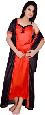 Kanika Women Nighty with Robe(Orange, Black)