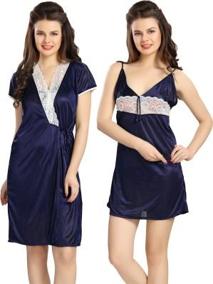 AV2 Women Nighty with Robe(Blue)