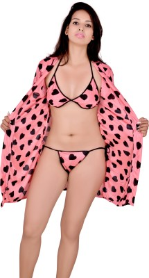 Kanika Women Nighty with Robe(Pink)