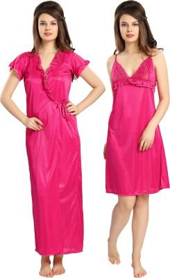 AV2 Women Nighty with Robe(Pink)