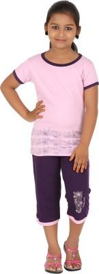 Meril Kids Nightwear Girls Printed Cotton(Pink Pack of 1)