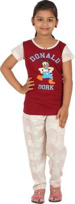 Meril Kids Nightwear Girls Printed Cotton(Maroon Pack of 1)