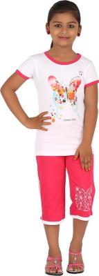 Meril Kids Nightwear Girls Printed Cotton(White Pack of 1)