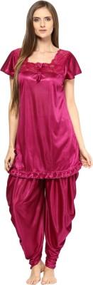 Fashigo Women Solid Pink Top & Pyjama Set