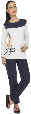 Red Ring Women Printed Blue Top & Pyjama Set at flipkart