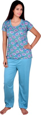 Kanika Women Floral Print Blue Top & Pyjama Set