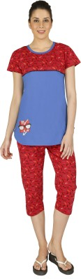 Red Ring Women Printed Red Top & Capri Set at flipkart