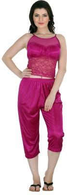 Belle Nuits Women's Solid Pink Top, Pyjama & Capri Set