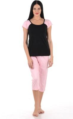 Klamotten Women Solid Black Top & Shorts Set