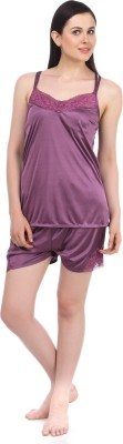Fasense Women Solid Purple Top & Shorts Set at flipkart