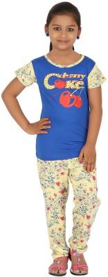 Meril Kids Nightwear Girls Printed Cotton(Blue Pack of 1)