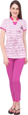 Red Ring Women Printed Pink Top & Pyjama Set at flipkart