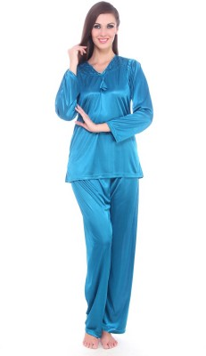 Fasense Women Solid Blue Top & Pyjama Set at flipkart