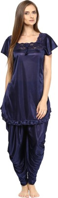 Fashigo Women Solid Blue Top & Pyjama Set