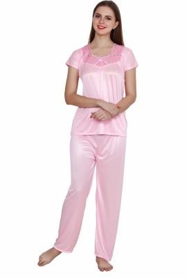 QUEEN PRETTY Women Self Design Pink Top & Pyjama Set