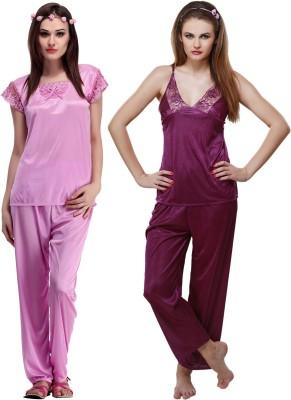 Belle Nuits Women's Solid Multicolor Top, Pyjama & Capri Set