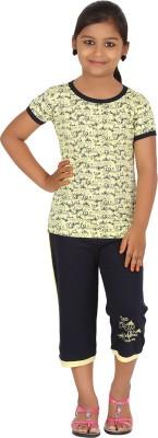Meril Kids Nightwear Girls Printed Cotton(Yellow Pack of 1)