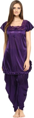 Fashigo Women Solid Purple Top & Pyjama Set