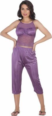 Belle Nuits Women's Solid Purple Top, Pyjama & Capri Set
