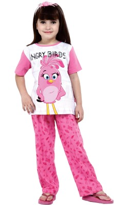 Angry Birds Kids Nightwear Girls Graphic Print Cotton(Pink)