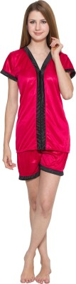 Kismat Fashion Women Solid Red, Black Top & Shorts Set at flipkart