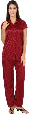 Fashigo Women Solid Maroon Top & Pyjama Set