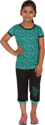 Meril Kids Nightwear Girls Printed Cotton(Green Pack of 1)