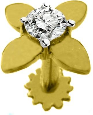 Gunjan Diamond Sparkling   Beautiful Diamond 18K Yellow Gold Plated Gold Nose Stud